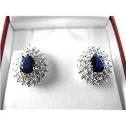 925 Silver Cluster Earring Pear Style W/Sapphire B