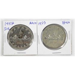 Lot (2) 1957 Canada Silver Dollars RWL and 1WL