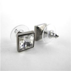 925 Silver Stud Earring Princess Cut Swarovski Ele