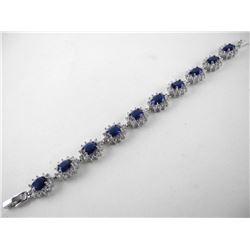 925 Silver Cluster Bracelet Oval Sapphire Blue Swa