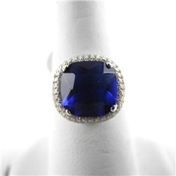925 Silver Ring, Cushion Cut Sapphire Blue Swarovs