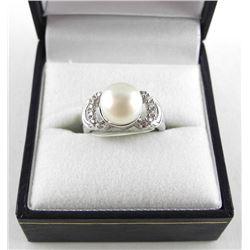 925 Silver, Classic Pearl Ring with Swarovski Elem