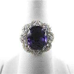 925 Silver Fancy Ring Oval Amethyst and Clear Swar