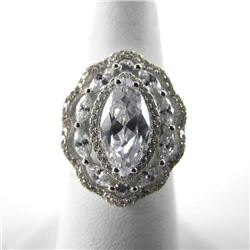925 Silver Fancy Marquise Solitaire with Bead Set