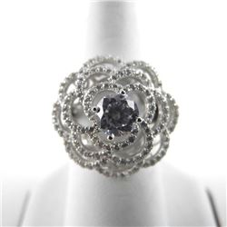 925 Silver Fancy Ring Flower Style Swarovski Eleme