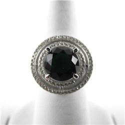 925 Silver Halo Ring, Emerald Green Swarovski Elem