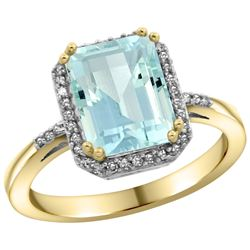 Natural 2.63 ctw Aquamarine & Diamond Engagement Ring 14K Yellow Gold - REF-55X8A