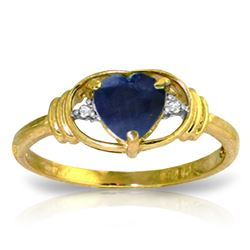 Genuine 1.01 ctw Sapphire & Diamond Ring Jewelry 14KT Yellow Gold - REF-46R3P