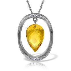 Genuine 9.6 ctw Citrine & Diamond Necklace Jewelry 14KT White Gold - REF-109T6A