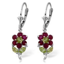 Genuine 2.12 ctw Peridot & Ruby Earrings Jewelry 14KT White Gold - REF-46X2M