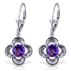 Genuine 1.10 ctw Amethyst Earrings Jewelry 14KT White Gold - REF-37H7X