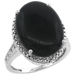 Natural 6.28 ctw Onyx & Diamond Engagement Ring 14K White Gold - REF-58R2Z