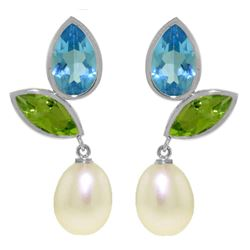 Genuine 16.6 ctw Blue Topaz & Peridot Earrings Jewelry 14KT White Gold - REF-45M7T