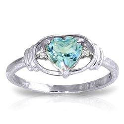 Genuine 0.96 ctw Blue Topaz & Diamond Ring Jewelry 14KT White Gold - REF-40H3X