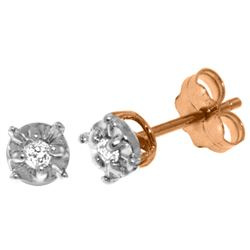 Genuine 0.06 ctw Diamond Anniversary Earrings Jewelry 14KT Rose Gold - REF-24F3Z
