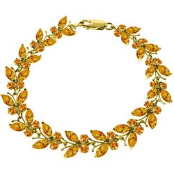 Genuine 16.5 ctw Citrine Bracelet Jewelry 14KT Yellow Gold - REF-179K2V