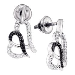 0.30 CTW Black Color Diamond Heart Stud Earrings 10KT White Gold - REF-26Y9X
