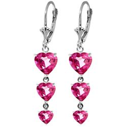 Genuine 6 ctw Pink Topaz Earrings Jewelry 14KT White Gold - REF-68N4R