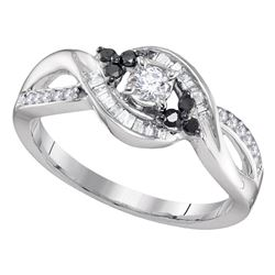 0.31 CTW Diamond Solitaire Black-Bridal Engagement Ring 10KT White Gold - REF-22W4K