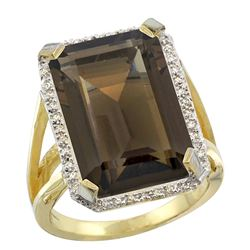 Natural 13.72 ctw Smoky-topaz & Diamond Engagement Ring 14K Yellow Gold - REF-81H3W