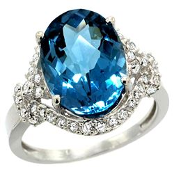 Natural 5.89 ctw swiss-blue-topaz & Diamond Engagement Ring 14K White Gold - REF-88R8Z