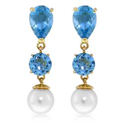 Genuine 10.50 ctw Blue Topaz & Pearl Earrings Jewelry 14KT Yellow Gold - REF-40R9P