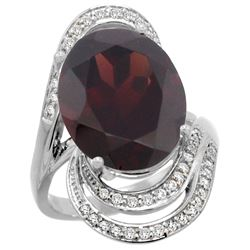 Natural 11.2 ctw garnet & Diamond Engagement Ring 14K White Gold - REF-110R2Z