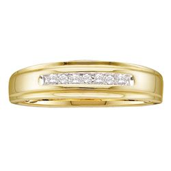 0.08 CTW Mens Diamond Channel-set Anniversary Ring 14KT Yellow Gold - REF-20Y9X