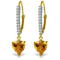 Genuine 3.55 ctw Citrine & Diamond Earrings Jewelry 14KT Yellow Gold - REF-62X2M