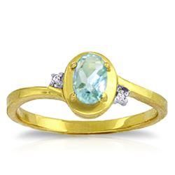 Genuine 0.51 ctw Aquamarine & Diamond Ring Jewelry 14KT Yellow Gold - REF-27W3Y