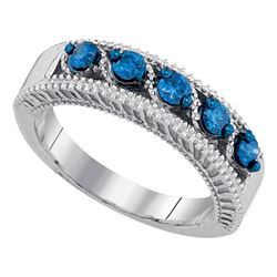0.45 CTW Blue Color Diamond Milgrain Ring 10KT White Gold - REF-44X9Y