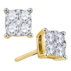 1.34 CTW Diamond Square Cluster Screwback Earrings 18KT Yellow Gold - REF-194Y9X