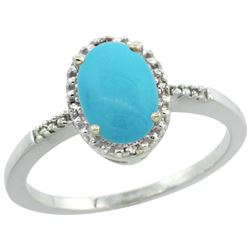 Natural 1.2 ctw Turquoise & Diamond Engagement Ring 14K White Gold - REF-24W8K