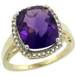 Natural 5.28 ctw Amethyst & Diamond Engagement Ring 14K Yellow Gold - REF-53G2M
