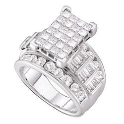 3.99 CTW Princess Diamond Cindys Dream Cluster Bridal Ring 14KT White Gold - REF-389Y9X