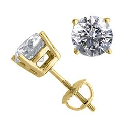 14K Yellow Gold 2.02 ctw Natural Diamond Stud Earrings - REF-519V2G-WJ13334