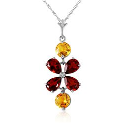 Genuine 3.15 ctw Garnet & Citrine Necklace Jewelry 14KT White Gold - REF-30Z3N