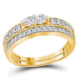 0.75 CTW Diamond 2-Stone Bridal Wedding Engagement Ring 14KT Yellow Gold - REF-75W2K