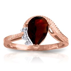 Genuine 1.52 ctw Garnet & Diamond Ring Jewelry 14KT Rose Gold - REF-51M4T