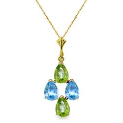 Genuine 1.50 ctw Blue Topaz & Peridot Necklace Jewelry 14KT Yellow Gold - REF-20F4Z