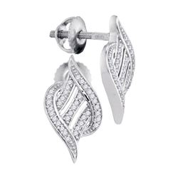 0.16 CTW Diamond Ribbon Screwback Earrings 10KT White Gold - REF-20N9F