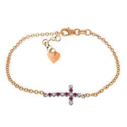Genuine 0.24 ctw Ruby & Diamond Bracelet Jewelry 14KT Rose Gold - REF-57R6P