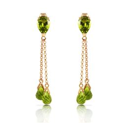 Genuine 7.5 ctw Peridot Earrings Jewelry 14KT Rose Gold - REF-39F3Z