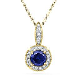 0.15 CTW Created Blue Sapphire Solitaire Diamond Pendant 10KT Yellow Gold - REF-14W9K