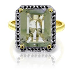 Genuine 5.8 ctw Green Amethyst & Black Diamond Ring Jewelry 14KT Yellow Gold - REF-79M8T