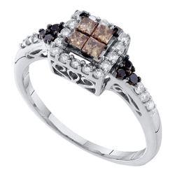 0.50 CTW Princess Cognac-brown Color Diamond Cocktail Ring 14KT White Gold - REF-41Y9X