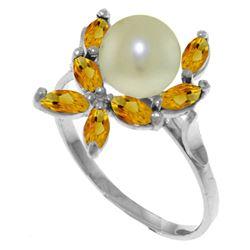 Genuine 2.65 ctw Pearl & Citrine Ring Jewelry 14KT White Gold - REF-28W5Y