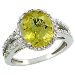 Natural 3.47 ctw Lemon-quartz & Diamond Engagement Ring 14K White Gold - REF-45H3W