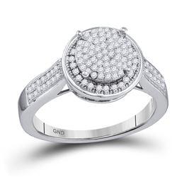 0.33 CTW Diamond Circle Cluster Ring 10KT White Gold - REF-37N5F