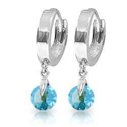 Genuine 2 ctw Blue Topaz Earrings Jewelry 14KT White Gold - REF-25W9Y